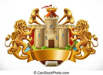 jas, 3d, arms., vector, kasteel, lions., pictogram