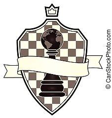 jas, armen, vector, schaakspel