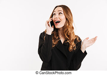 jas, hairstyle, vrouw, gesprek, klesten, beweeglijk, op, vrijstaand, hebben, vermakelijk, telefoon, zwarte achtergrond, modieus, witte , schattige, het glimlachen