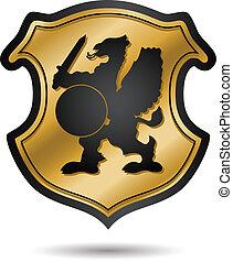 jas, heraldisch, armen, goud