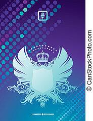 &, jas, heraldisch, armen, vector, achtergrond, glittering