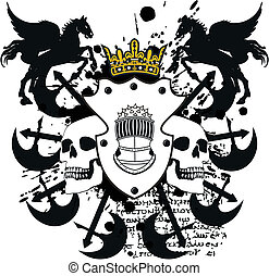 jas, heraldisch, kam, armen, skull8