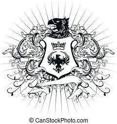 jas, heraldisch, ornament, armen, 3