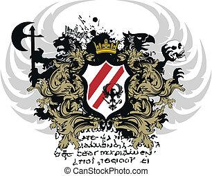 jas, heraldisch, ornament, armen, 7