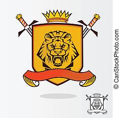 jas, leeuw, vector, armen