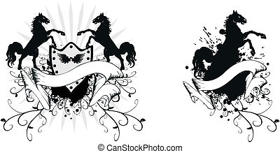 jas, paarde, 2, heraldisch, armen