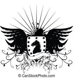 jas, paarde, 3, heraldisch, armen