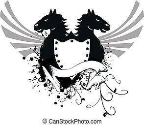 jas, paarde, 6, heraldisch, armen