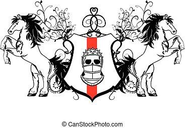 jas, paarde, crest2, heraldisch, armen