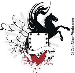jas, paarde, heraldisch, 4, armen