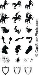 jas, paarde, set, heraldisch, armen