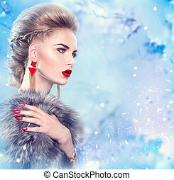 jas, vrouw, vacht, winter, luxe