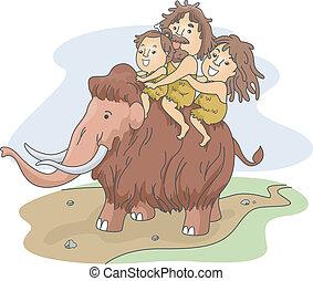 jaskiniowiec, jazda, rodzina