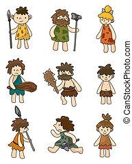 jaskiniowiec, komplet, ikona, wektor, rysunek