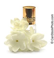 jasmijn, bloem, met, essentie, fles