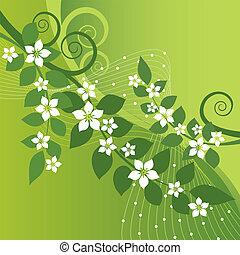 jasmijn, bloemen, en, groene, swirls
