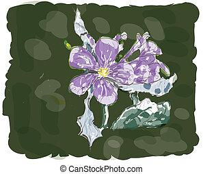 jasmin, flor, acuarela