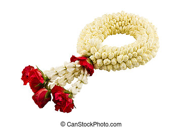 Jasmine garland on white background