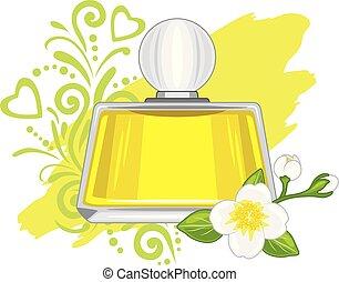 Jasmine oil vial. Vector illustration