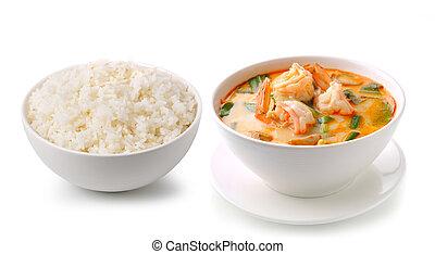 Jasmine Rice and Tom Yam Kung (Thai cuisine) isolated on...