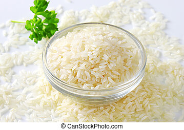 Bowl of uncooked white rice
