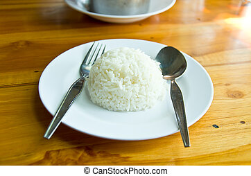 jasmine rice on table for eat