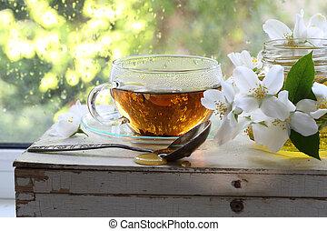 Jasmine tea in a transparent Cup