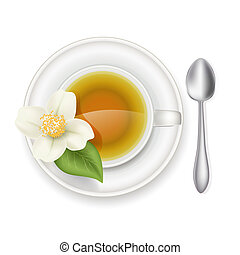 jasmine tea in a white cup