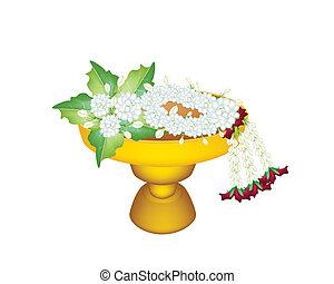 Jasmines and Jasmine Wreath on Golden Tray