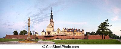 Jasna Gora monastery panorama at dawn, Czestochowa in Poland