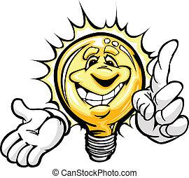 jasne światło, energia, idea, twarz, oszczędności, siła robocza, bulwa, uśmiechanie się, albo, rysunek
