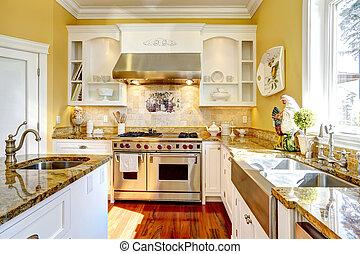 jasny, żółty, kuchnia, pokój, z, granit, szczyty