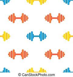 jasny, barbells., próbka, sala gimnastyczna, seamless, wyposażenie, kolor, wektor, sport