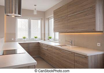 jasny, drewniany, kuchnia
