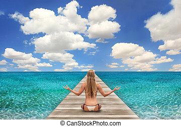 jasny, kobieta, plażowa scena, dzień