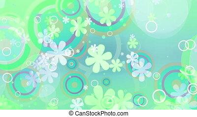 jasny, kwiaty, zielone hue, retro, pętla