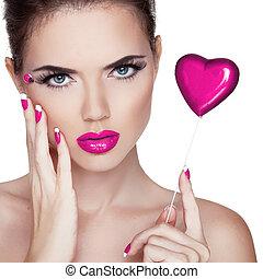 jasny, makeup., piękno, portrait., piękna kobieta, dotykanie, jej, face., doskonały, świeży, skin., czysty, piękno, model., skóra troska, pojęcie