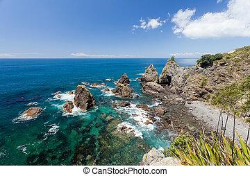 jasny, ocean polewają, zielony, przybrzeżny, stromy, krajobraz, urwisko