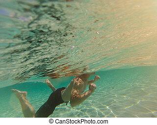 jasny, pływacki, karaibskie morze, człowiek