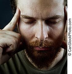 jasny, pojęcie, -, twarz, spokojny, rozmyślanie, człowiek