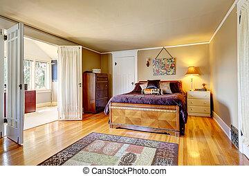 jasny, sypialnia, pokój, walkout, wygodny
