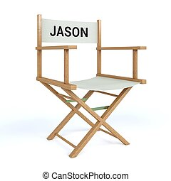 Jason written on director chair on isolated white background...