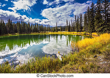 Jasper National Park in the Rockies - Shallowed circular...