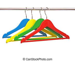 jassen, witte , hanger, vrijstaand, kleurrijke