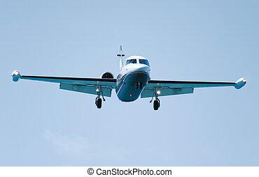 jato, airliner, vôo, pronto, para, aterragem