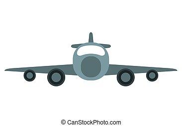 jato, avião confidencial, transporte, vista dianteira