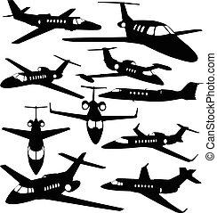 jato, -, aviões, privado, silhuetas, contornos