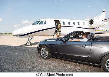 jato, contra, privado, conversível, estacionado, piloto