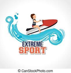jato, etiqueta, desenho, desporto, esqui, extremo