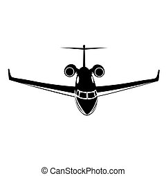 jato, isolado, privado, vetorial, ilustração, fundo, ícone, avião, branca